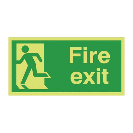Picture of Photoluminescent Fire Exit Left Man Sign
