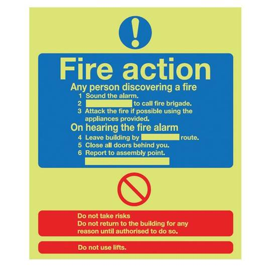 Picture of Photoluminescent Fire Action Instructions Sign